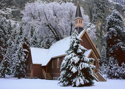 067 Chapel, fresh snow, Yosemite Valley, Yosemite National Park