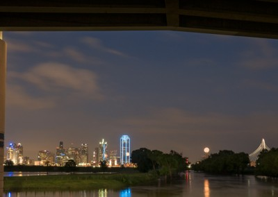 1100548 Downtown Dallas, Texas, Trinity River at flood stage