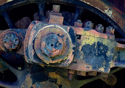 1181 Weathered steam locomotive gear, Eagle Lake, Maine