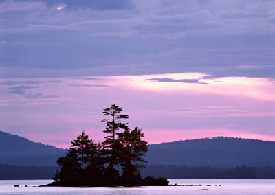 1277 Island, pink dawn, Millinocket Lake, Maine Woods