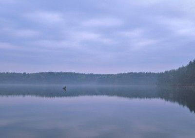 130 Fisherman and boat on Walden Pond, PANORAMA