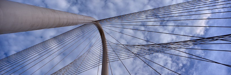 1358 Margaret Hunt Hill Bridge cables, Dallas, Texas, PANORAMA