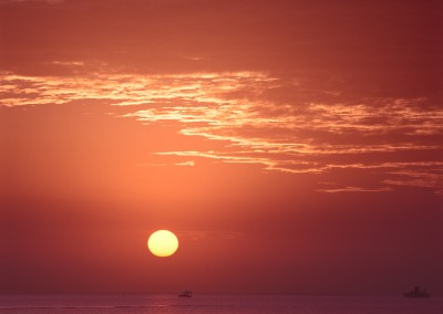 1419 Sun rising over Gulf of Mexico, Aransas Pass, Texas