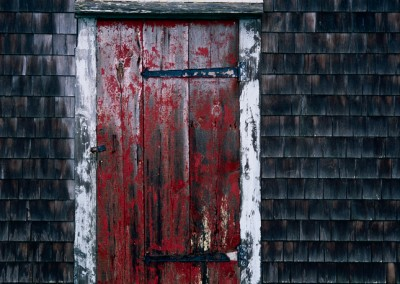 727 Red door, cold rain, Wellfleet, Cape Cod