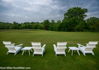 07044 White chairs on tee box, Trinity Forest Golf Club, Dallas, TX