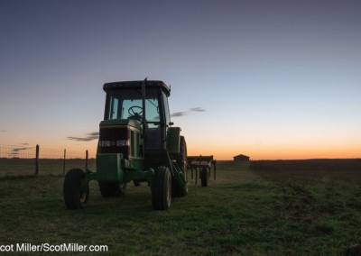3280054 John Deere tractor in field, dawn, LBJ Ranch, Stonewall, Texas