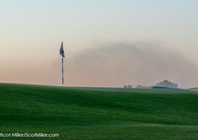 01324 Steam fog at dawn, 15th green, hole #4, Trinity Forest Golf Club, Dallas, Texas