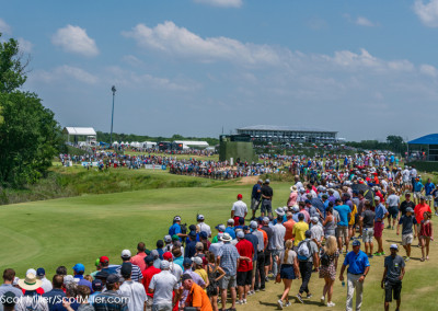 02864  Crowds line hole #17 during 2018 AT&T Byron Nelson Golf Tournament at Trinity Forest Golf Club, Dallas, Texas