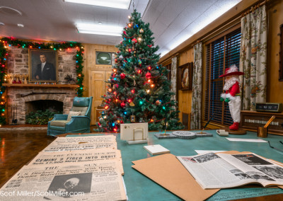 05094 LBJ's office at LBJ Ranch, decorated for Christmas season, Lyndon B. Johnson National Historical Park
