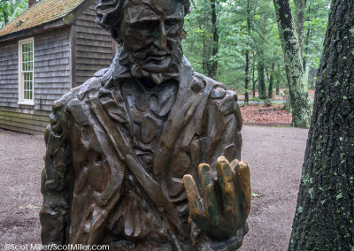 08880 Statue of Henry David Thoreau & cabin replica at Walden Pond State Reservation, Concord, MA