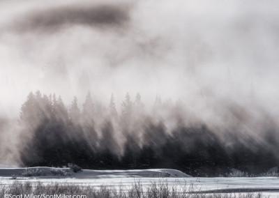 1050808 Frigid winter morning, steam fog rising, Grand Teton National Park, Wyoming