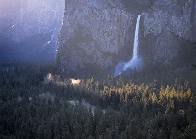 1254 First light on the valley floor, Bridalveil Fall, Yosemite Valley
