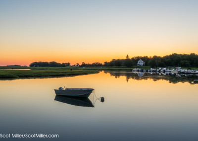 09072 Boat on Essex River at dawn, Essex, MA
