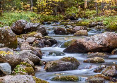 3250775 Cascading stream and fall foliage, White Mountains, NH