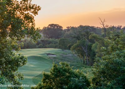01581 Steam fog rising at sunrise, hole #4, Trinity Forest Golf Club, Dallas, Texas