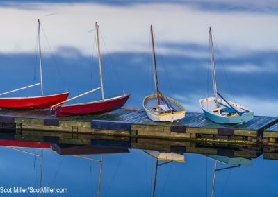 04896 Sail boats on dock at dawn, Saint Andrews Harbor, New Brunswick, Canada