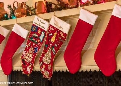 05285 LBJ & Lady Bird Christmas stockings in living room of the Texas White House, LBJ Ranch