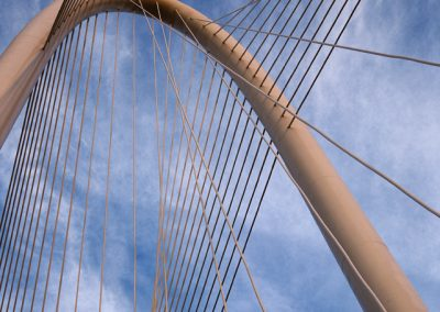 1350 Margaret Hunt Hill Bridge by Santiago Calatrava, arch & cables detail, Dallas, TX