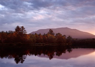 1395 First light, Mt. Kathdin reflecting, Maine Woods