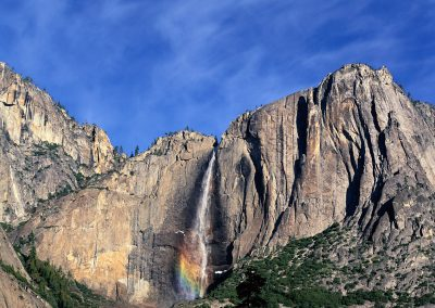 154 Upper Yosemite Fall and mistbow, winter, Yosemite Valley