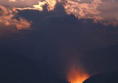 482 Backcountry wildfire burning, full moon rising, Yosemite National Park, CA