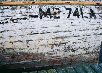 496 Weathered boat hull, Jonesport, Maine