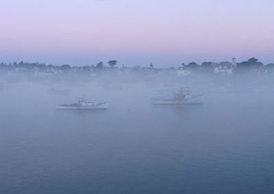 529 Foggy Jonesport, Maine, harbor at dawn, PANORAMA
