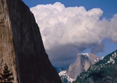 613 Half Dome and puffy white clouds, Yosemite Valley