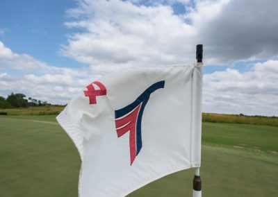 00661 Close-up of flag, sky, 4th hole, Trinity Forest Golf Club, Dallas, TX