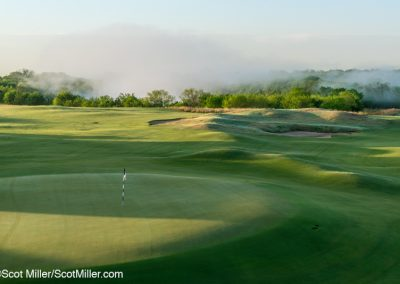 09078 Sunrise, steam fog on horizon, 15th green, Trinity Forest Golf Club, Dallas, TX
