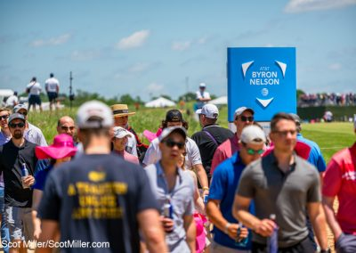 00276 AT&T Byron Nelson sign and golf fans, 2019, Trinity Forest Golf Club, Dallas, TX