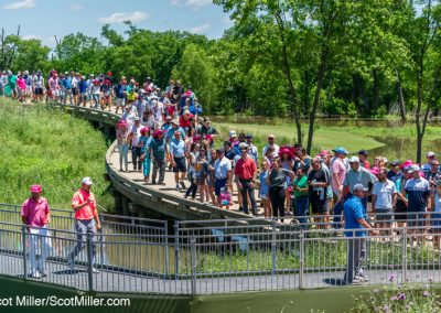 00332 Jordan Spieth, golf fans, crossing bridges at 2019 AT&T Byron Nelson golf tournament, Trinity Forest Golf Club, Dallas, TX
