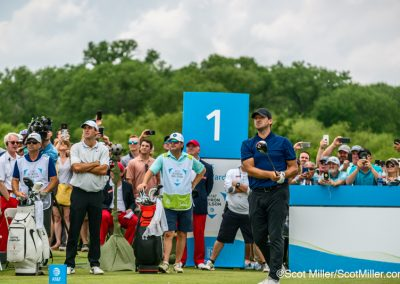 09528 Tony Romo teeing off on hole #1 at 2019 AT&T Byron Nelson golg tournament, Trinity Forest Golf Club, Dallas, TX