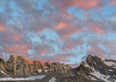 01519 Last rays of the sun kiss the mountains and set the clouds on fire, John Muir Wilderness, Sierra Nevada Mountains, CA