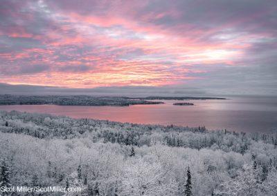 02582 Dramatic winter sunrise after a fresh snowfall, Lake Superior, Grand Portage, Minnesota