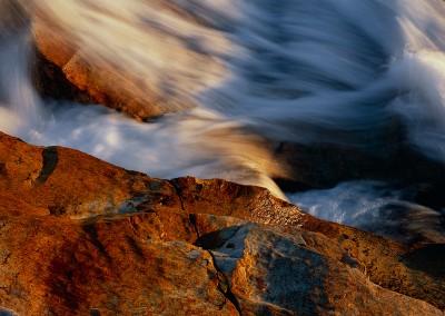 515 Cascading water, sunlit granite, Tuolumne River, Yosemite