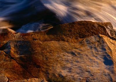 520 Cascading water, sunlit granite, Tuolumne River, Yosemite